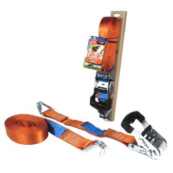 Jumbo spanband oranje 6m 38mm met rubberen ratel voor extra grip en J haken
