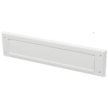 Handson brievenbusklep met borstel PVC wit