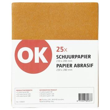 OK schuurpapier fijn, middel en grof 25 stuks