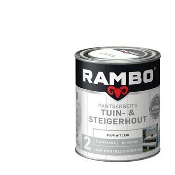 Rambo vintage pantserbeits tuin- en steigerhout dekkend puur wit zijdeglans 750 ml