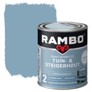 Rambo vintage pantserbeits tuin- en steigerhout dekkend petrol blauw zijdeglans 750 ml