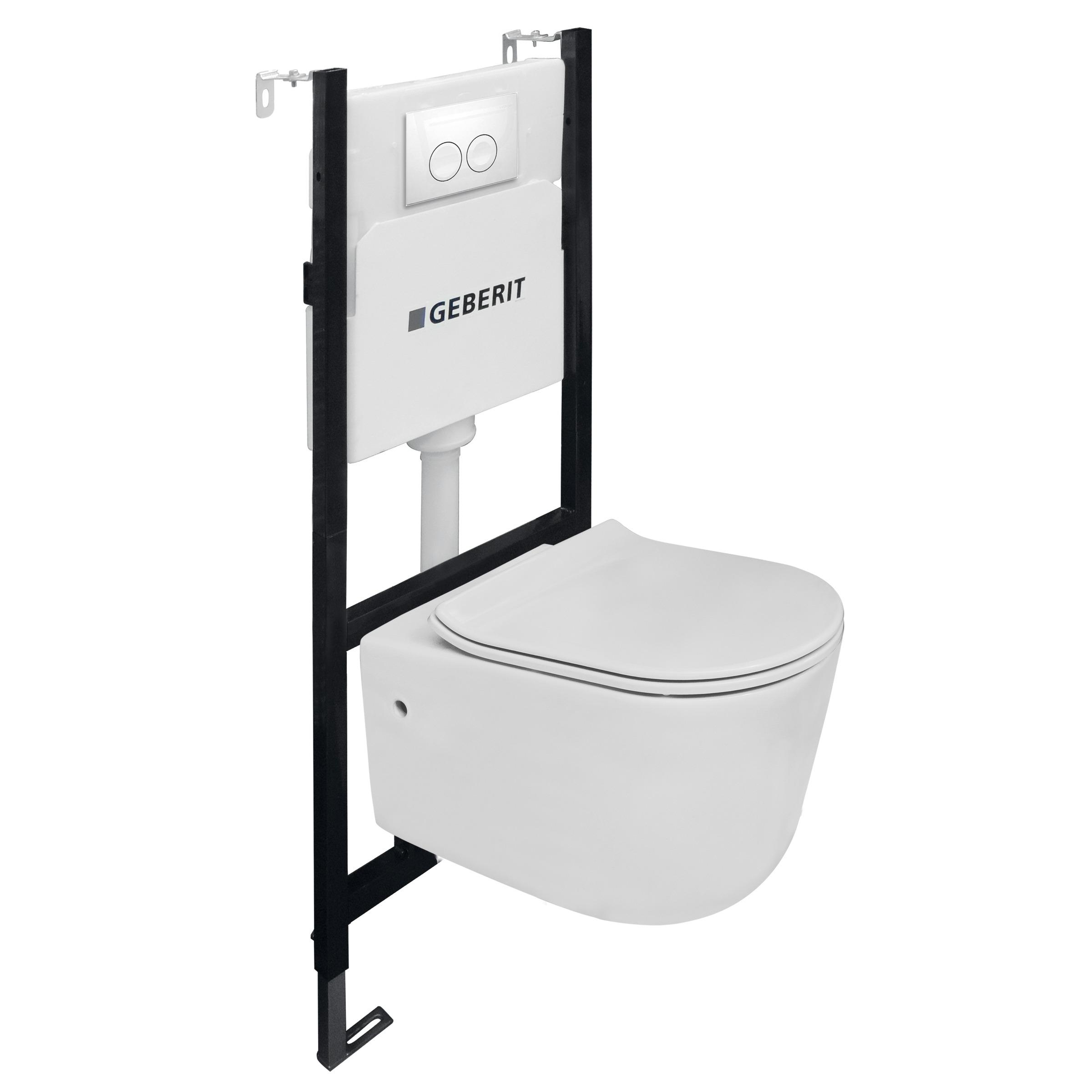 Toiletset Van Marcke Combo Up Pureflow Rimless Hang Wit