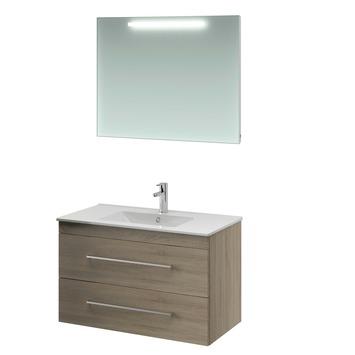 Bruynzeel Elements badmeubelset met spiegel grijs eiken 90 cm