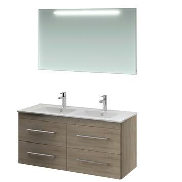 Bruynzeel Elements badmeubelset met spiegel grijs eiken 120 cm