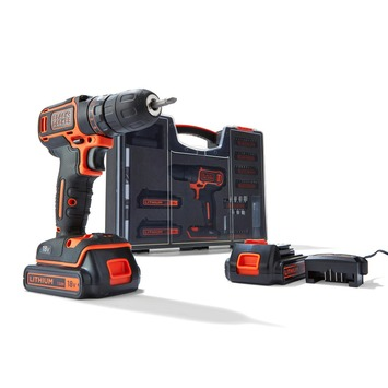 Black+Decker accuboormachine BDC718AS2O-QW 18 volt  + 80-delige accessoireset