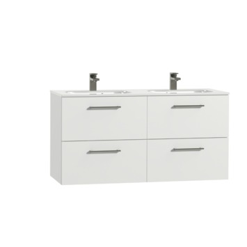Tiger Studio badkamermeubel 120 cm hoogglans wit met wastafel dubbel polybeton hoogglans wit greep rvs afgerond