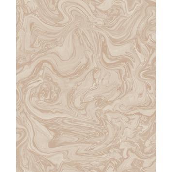 Vliesbehang Marmer goud-roze 100537