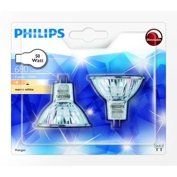 Philips EcoHalo reflectorlamp GU5.3 50W warm wit 2 stuks dimbaar