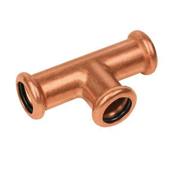 Bonfix press water T-stuk 22x22x22mm roodkoper