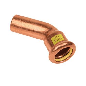 Bonfix press gas insteekbocht 45° 15x15mm roodkoper