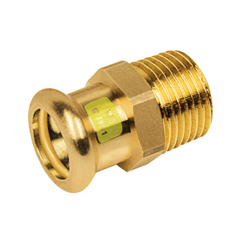 "Bonfix press gas punststuk 15mm x 1/2"" buitendraad  roodkoper"