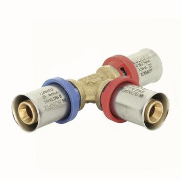 Bonfix alu-press T-stuk verlopend 20x2,0 x16x2,0 x16x2,0mm