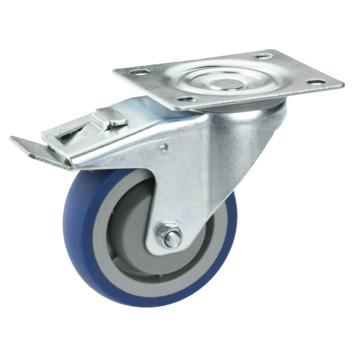 Zwenkwiel TPE met rem en plaatbevestiging Ø 80 mm max. 100 kg