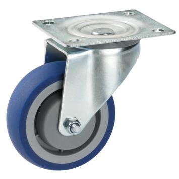 Zwenkwiel TPE met plaatbevestiging Ø 80 mm max. 100 kg