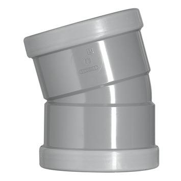 Martens bocht 15° PVC grijs 2x manchet 125x125 mm
