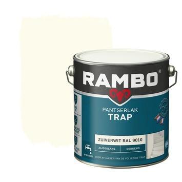 Rambo pantserlak trap dekkend zijdeglans zuiverwit 2,5 liter