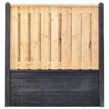 Houtbetonschutting compleet met gratis plaatsing, lengte 7 t/m 7,5 meter