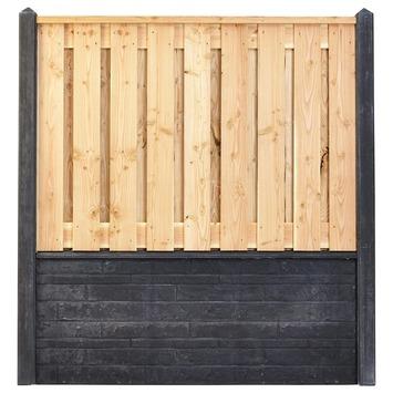Houtbetonschutting compleet met gratis plaatsing, lengte 8 t/m 8,5 meter