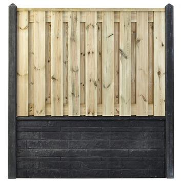 Houtbetonschutting compleet met gratis plaatsing, lengte 10,5 t/m 11 meter