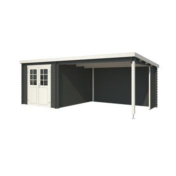 Tuinhuis met Overkapping Lis Gecoat Hout Antraciet 230x275 cm