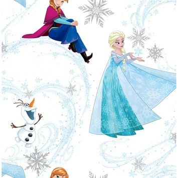 Papierbehang Frozen Elsa, Anna en Olaf 101395