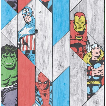 Papierbehang Marvel hout paneel 102435