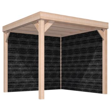 Overkapping Douglas Hout Zwart met Achterwand en Zijwand 270x270 cm