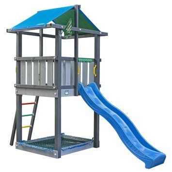 Jungle Gym Hut Speeltoestel met Zandbak en Blauwe Glijbaan