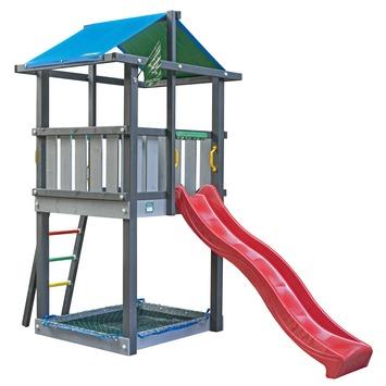 Jungle Gym Hut Speeltoestel met Zandbak en Rode Glijbaan
