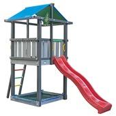 Jungle Gym Hut donkergrijs / lichtgrijs + rood glijbaan
