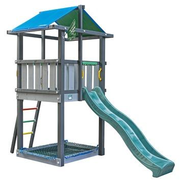 Jungle Gym Hut Speeltoestel met Zandbak en Donkergroene Glijbaan