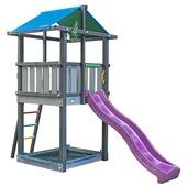 Jungle Gym Hut donkergrijs / lichtgrijs + fuchsia glijbaan