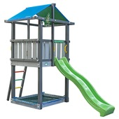 Jungle Gym Hut donkergrijs / lichtgrijs + lichtgroen glijbaan