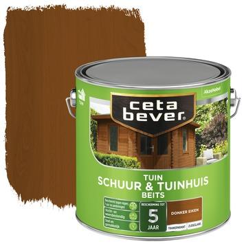 Cetabever schuur & tuinhuis beits transparant donker eiken zijdeglans 2,5 liter