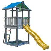 Jungle Gym Hut donkergrijs / lichtgrijs + gele glijbaan