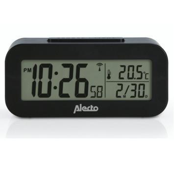 Alecto wekker met thermometer zwart