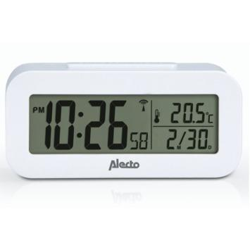 Alecto wekker met thermometer wit