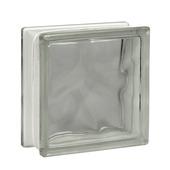 Glazen bouwsteen helder wolk wit 19x19 cm