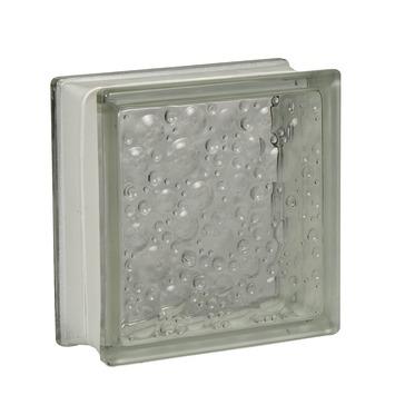 Glazen bouwsteen druppel wit 19x19 cm