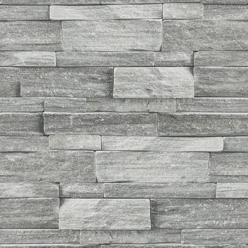 Vliesbehang Stenen muur grijs 103948