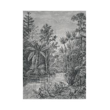Fotobehang Jungle zwart - wit (105411)