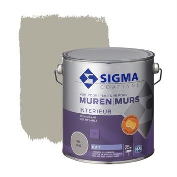 Sigma reinigbare muurverf RAL 7032 2,5 liter