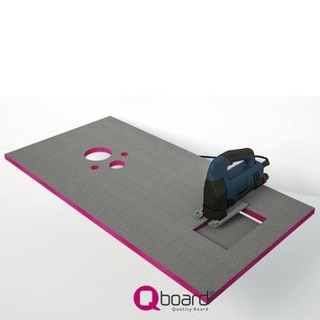 Qboard Quick inbouwreservoir montageset 130x60cm 20mm