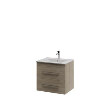 Bruynzeel Elements badkamermeubel set 60cm grijs eiken met vierkante greep