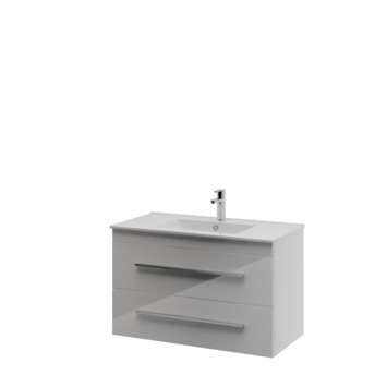 Bruynzeel Elements badkamermeubel set 90cm hoogglans wit met profielgreep