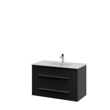 Bruynzeel Elements badkamermeubel set 90cm zwart met profielgreep