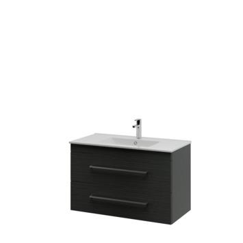 Bruynzeel Elements badkamermeubel set 90cm hacienda zwart met vierkante greep