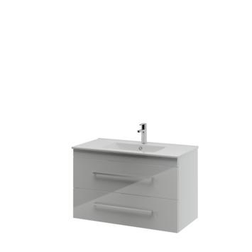 Bruynzeel Elements badkamermeubel set 90cm hoogglans wit met vierkante greep