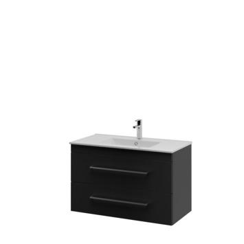 Bruynzeel Elements badkamermeubel set 90cm zwart met vierkante greep