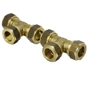 Bonfix knelkoppeling messing T-stuk 15x15x15 mm 2 stuks
